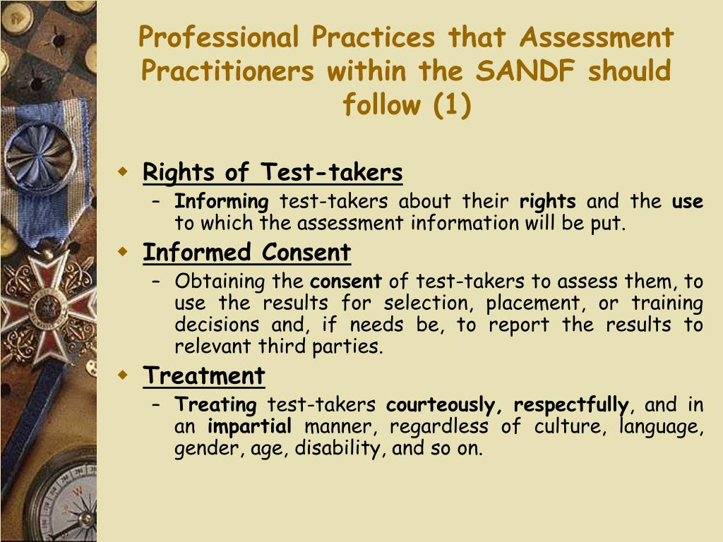 Professional Practices that Assessment Practitioners within the SANDF should follow (1)