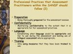 professional practices that assessment practitioners within the sandf should follow 2