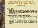 psychological assessment within the democratic south africa 1