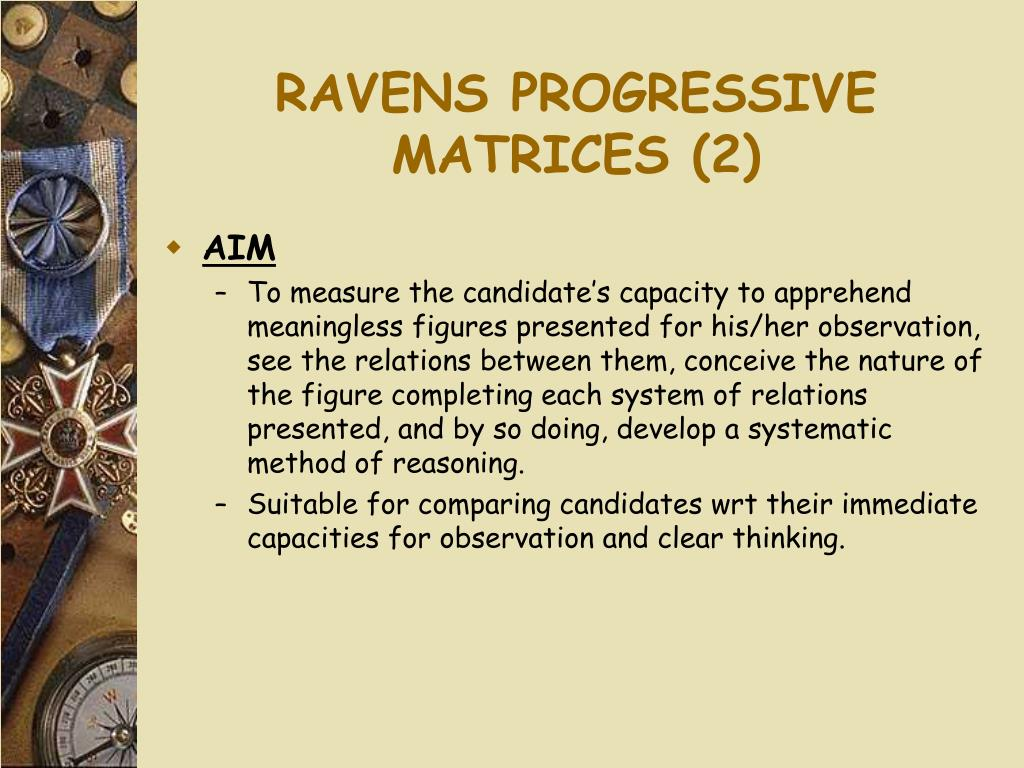 RAVENS PROGRESSIVE MATRICES (2)