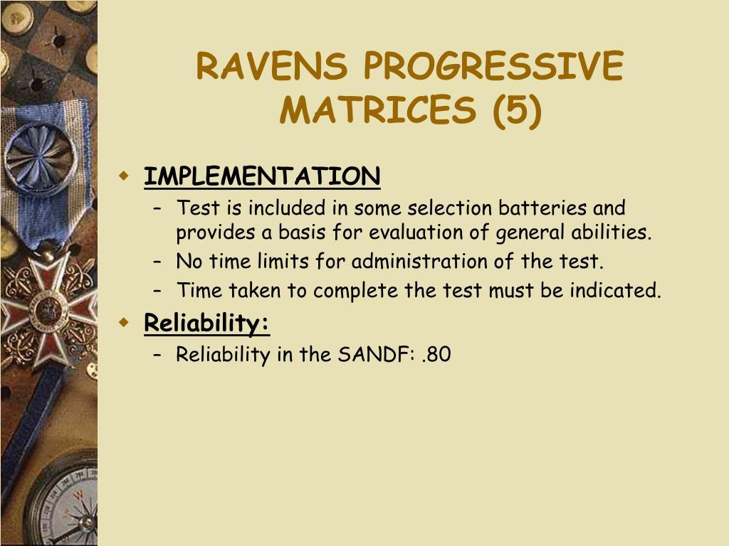 RAVENS PROGRESSIVE MATRICES (5)