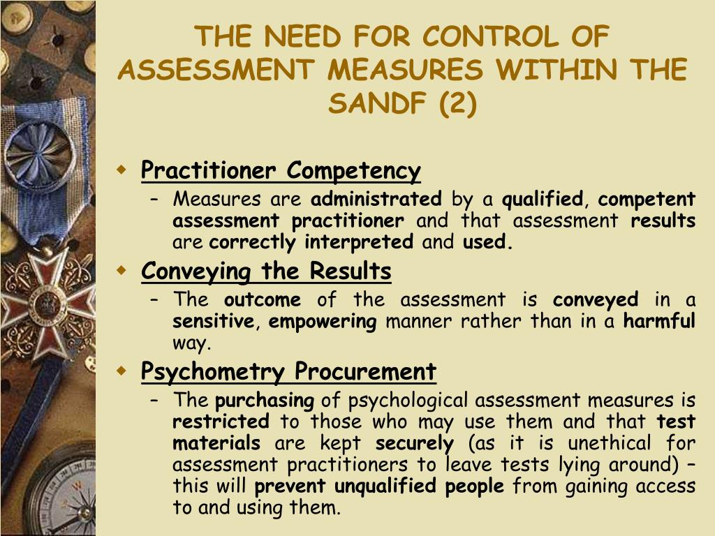 THE NEED FOR CONTROL OF ASSESSMENT MEASURES WITHIN THE SANDF (2)