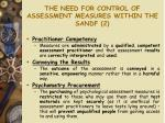 the need for control of assessment measures within the sandf 2