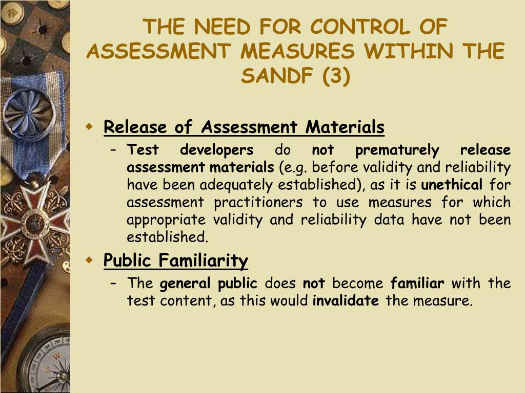 THE NEED FOR CONTROL OF ASSESSMENT MEASURES WITHIN THE SANDF (3)