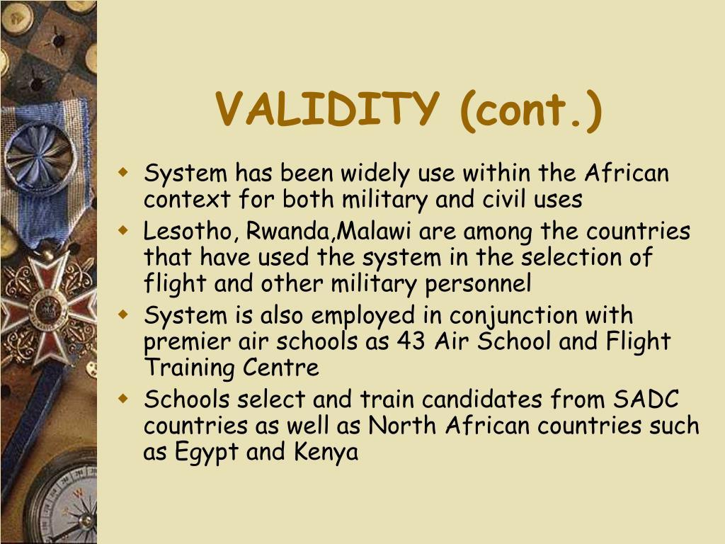 VALIDITY (cont.)