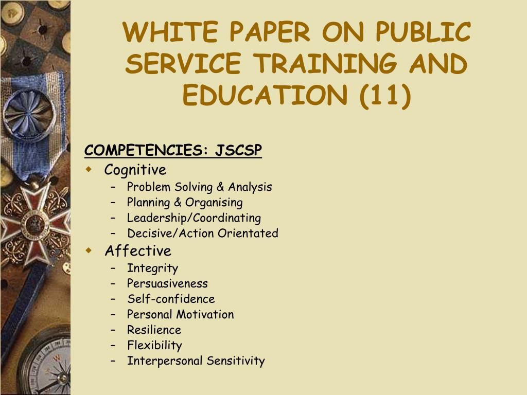 WHITE PAPER ON PUBLIC SERVICE TRAINING AND EDUCATION (11)