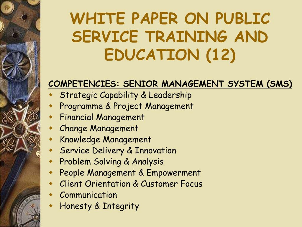 WHITE PAPER ON PUBLIC SERVICE TRAINING AND EDUCATION (12)