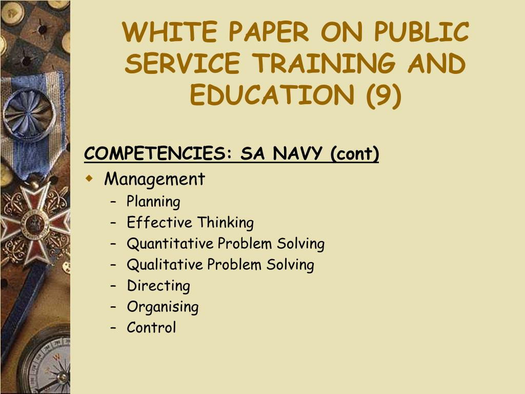 WHITE PAPER ON PUBLIC SERVICE TRAINING AND EDUCATION (9)