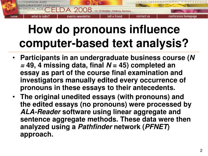 How do pronouns influence computer-based text analysis?