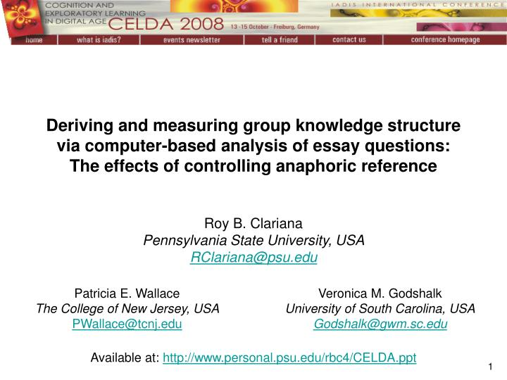 Deriving and measuring group knowledge structure via computer-based analysis of essay questions:
