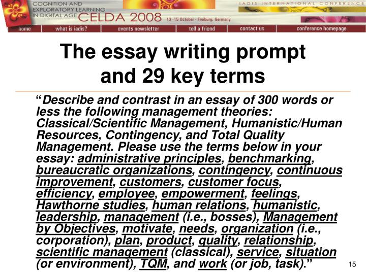 The essay writing prompt