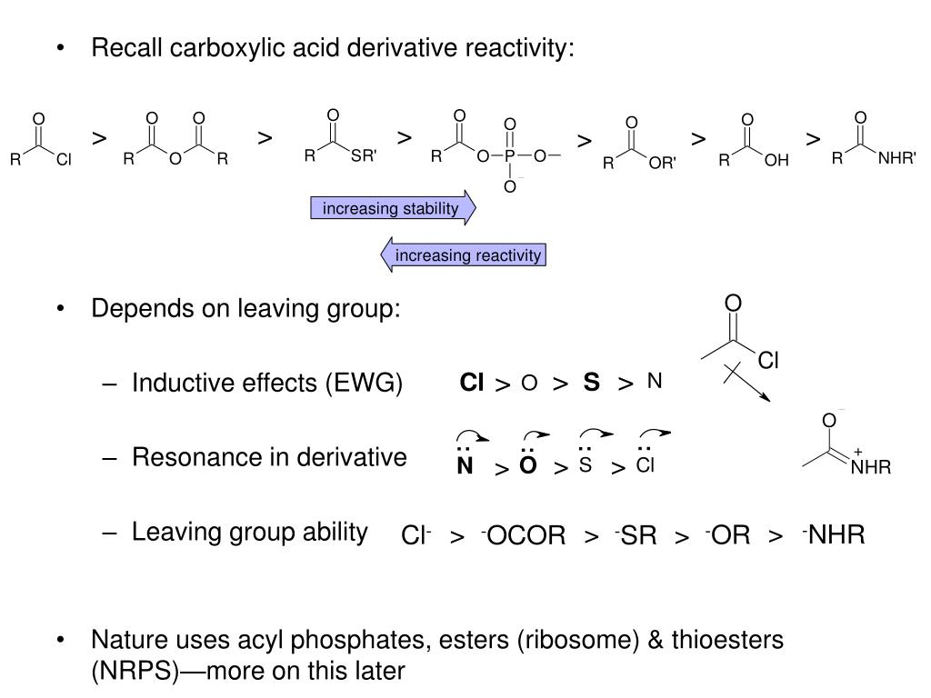 Recall carboxylic acid derivative reactivity: