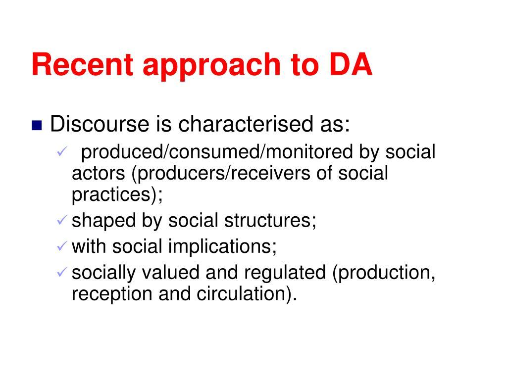 Recent approach to DA
