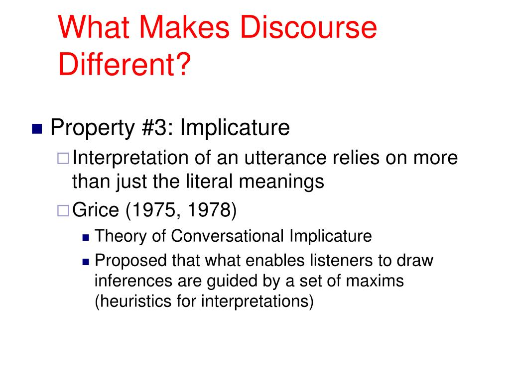 What Makes Discourse Different?