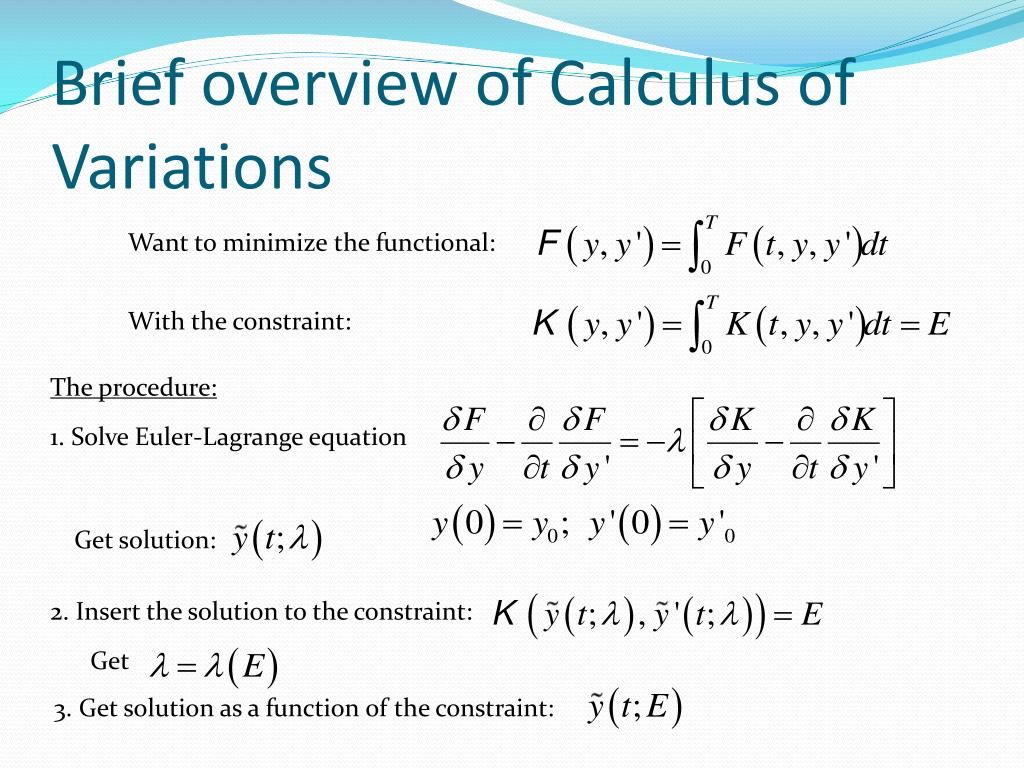 Brief overview of Calculus of Variations