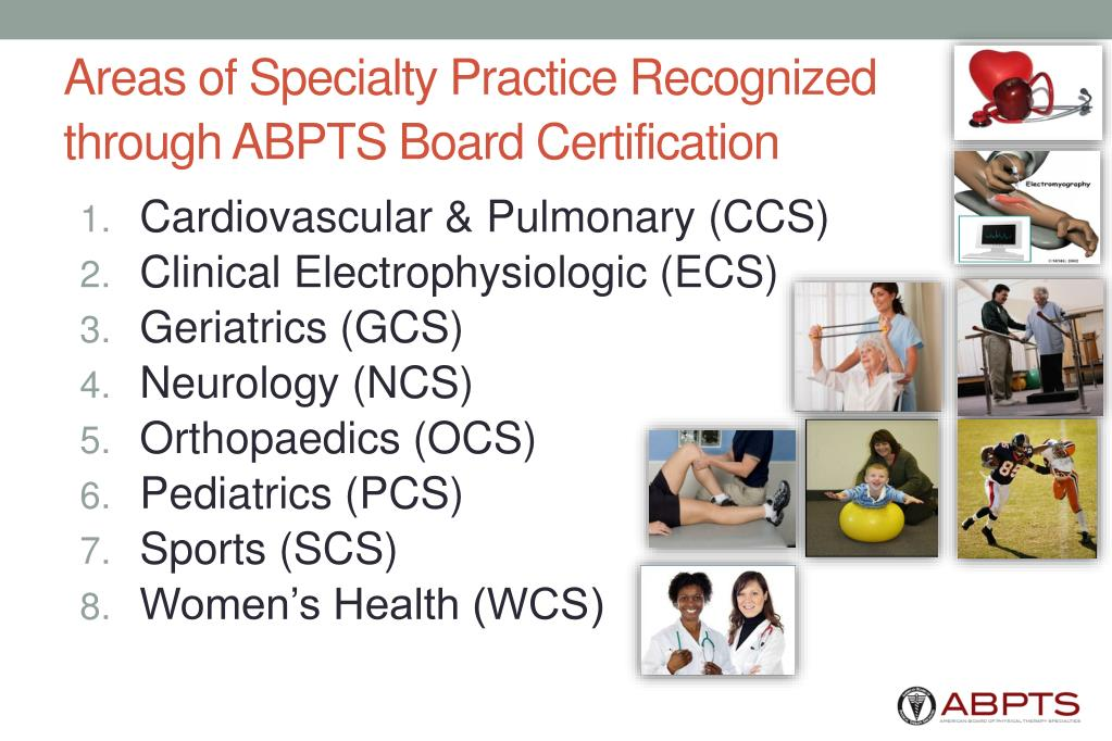 Areas of Specialty Practice Recognized