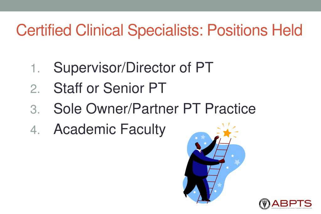 Certified Clinical Specialists: Positions Held