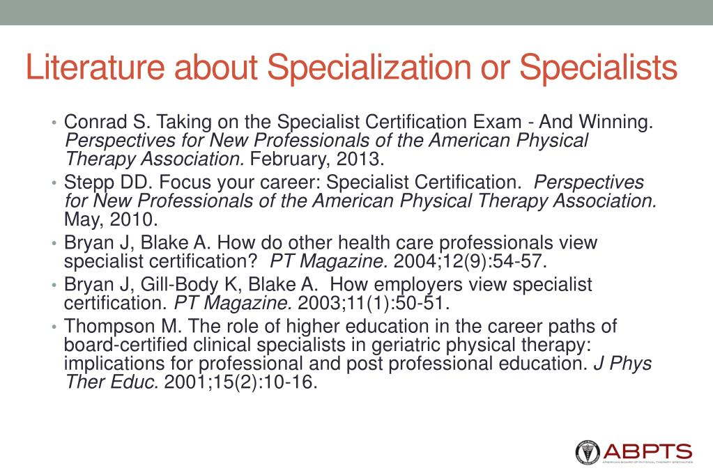 Literature about Specialization or Specialists