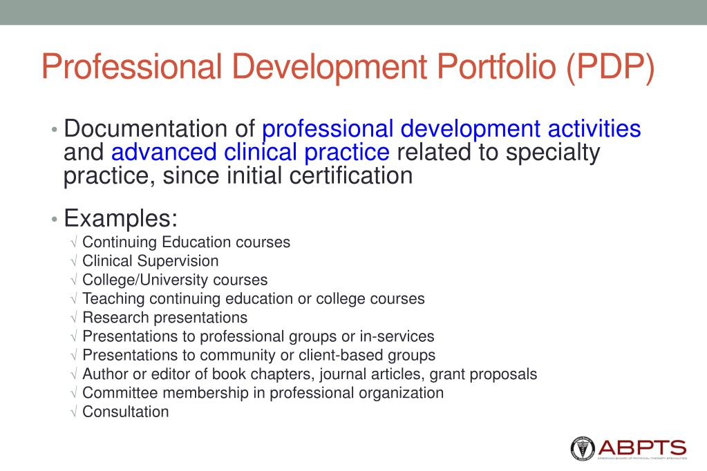 Professional Development Portfolio (PDP)