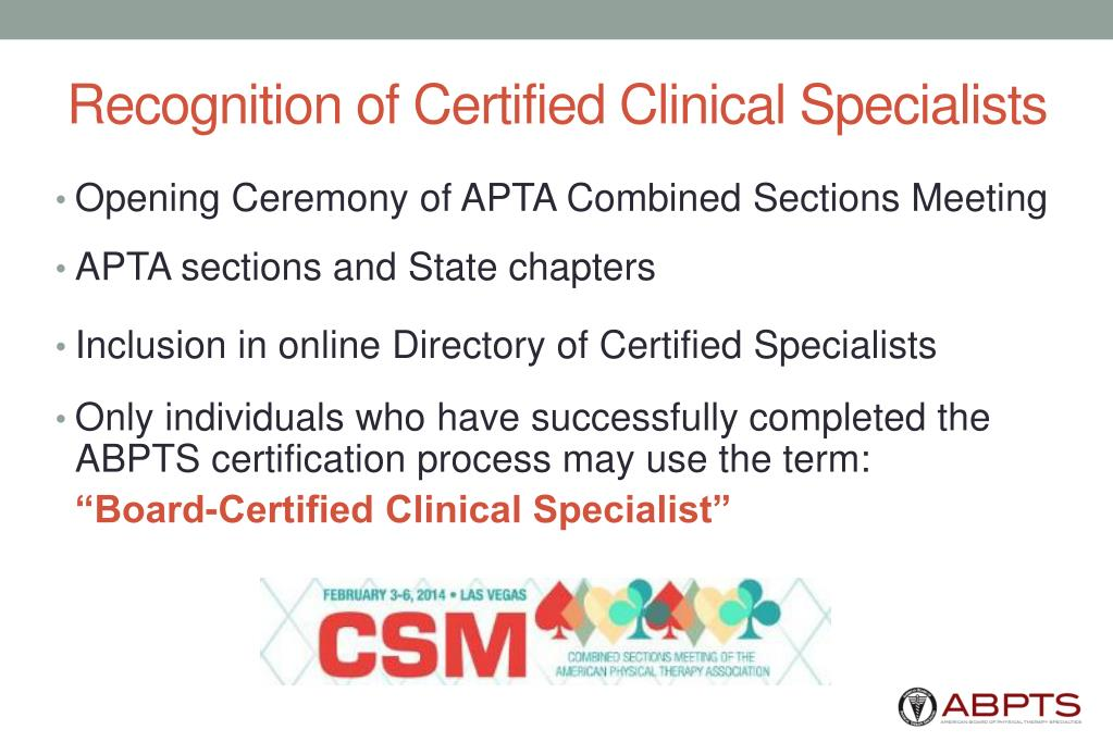 Recognition of Certified Clinical Specialists