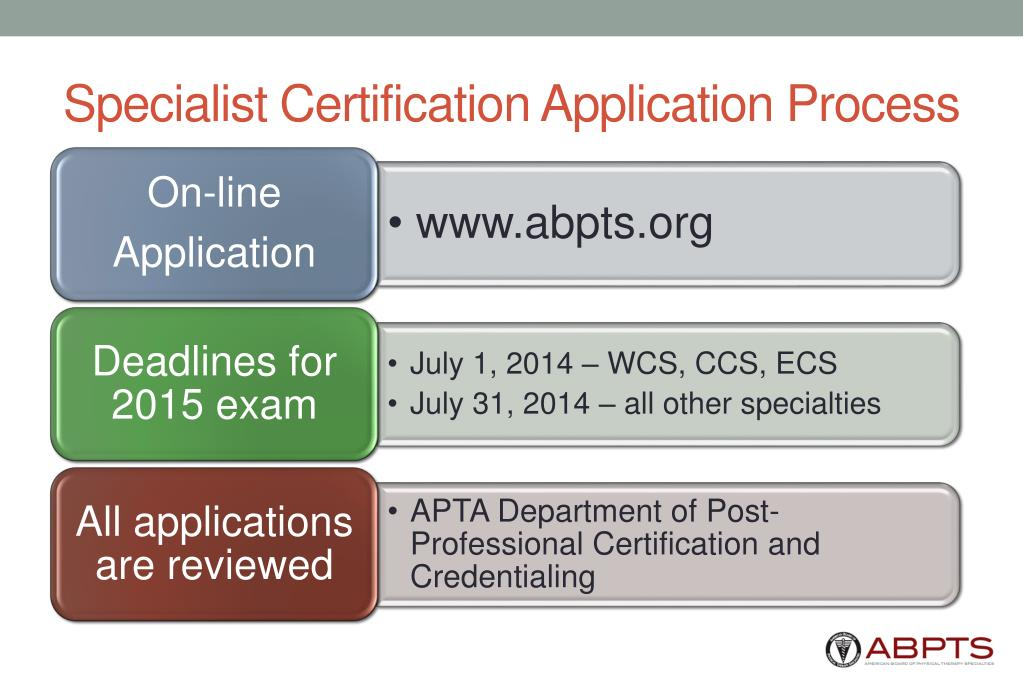 Specialist Certification Application Process