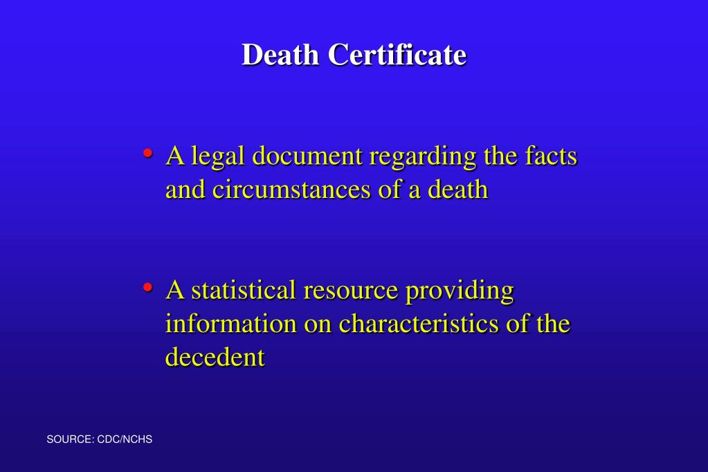 A legal document regarding the facts and circumstances of a death