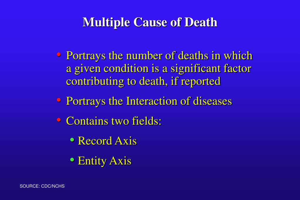 Portrays the number of deaths in which a given condition is a significant factor contributing to death, if reported