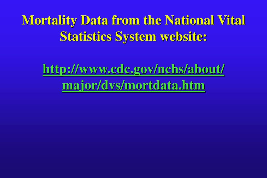 Mortality Data from the National Vital Statistics System website: