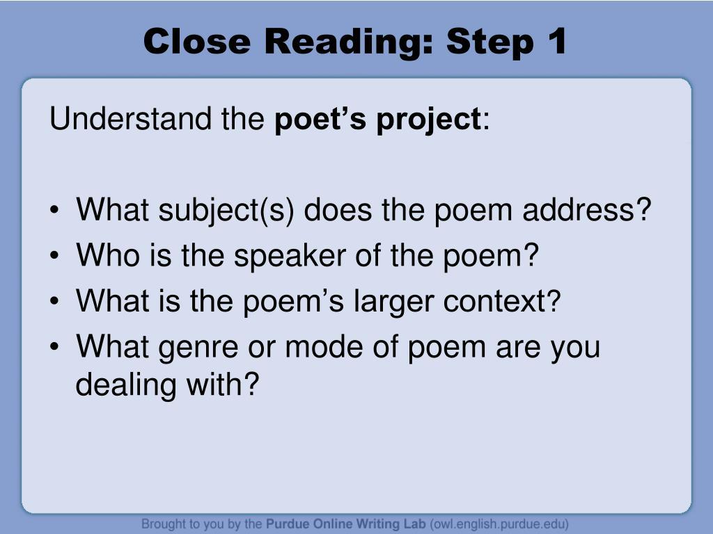 Close Reading: Step 1