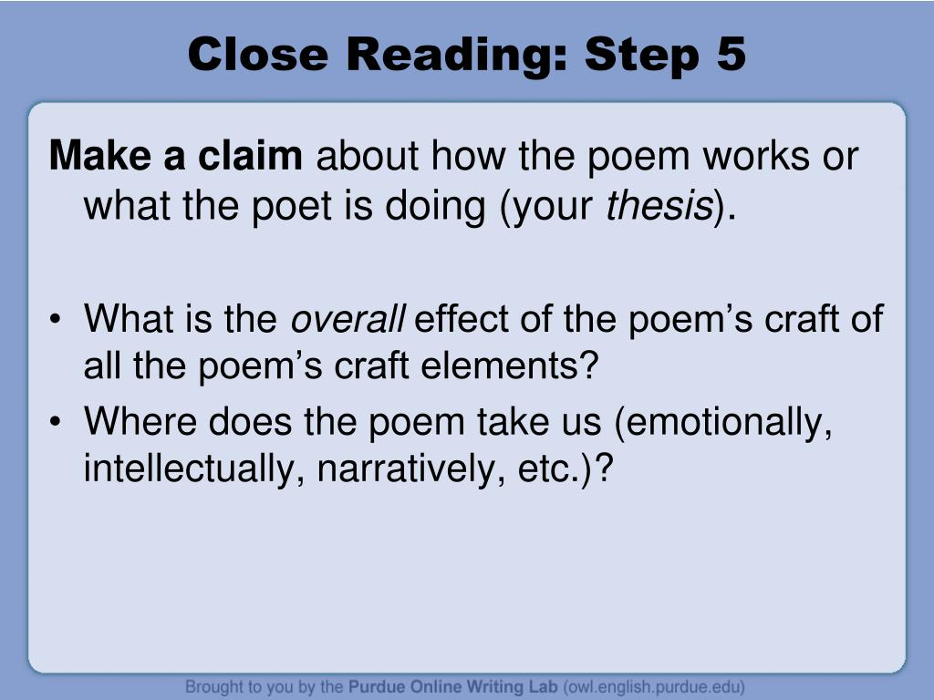 Close Reading: Step 5