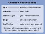 common poetic modes