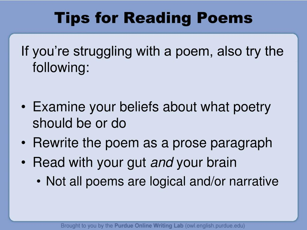Tips for Reading Poems