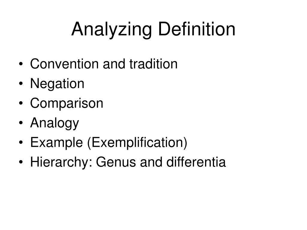 Analyzing Definition