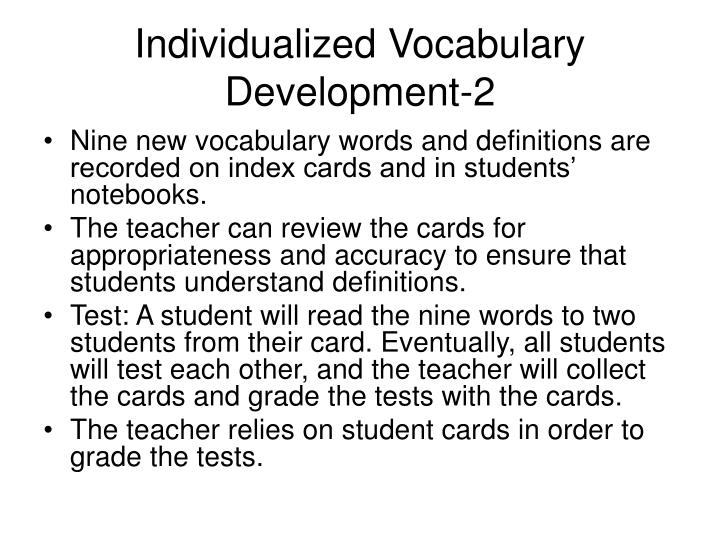 Individualized vocabulary development 2