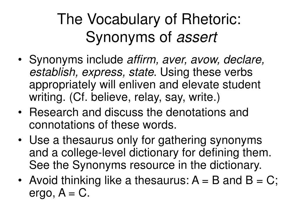 The Vocabulary of Rhetoric: