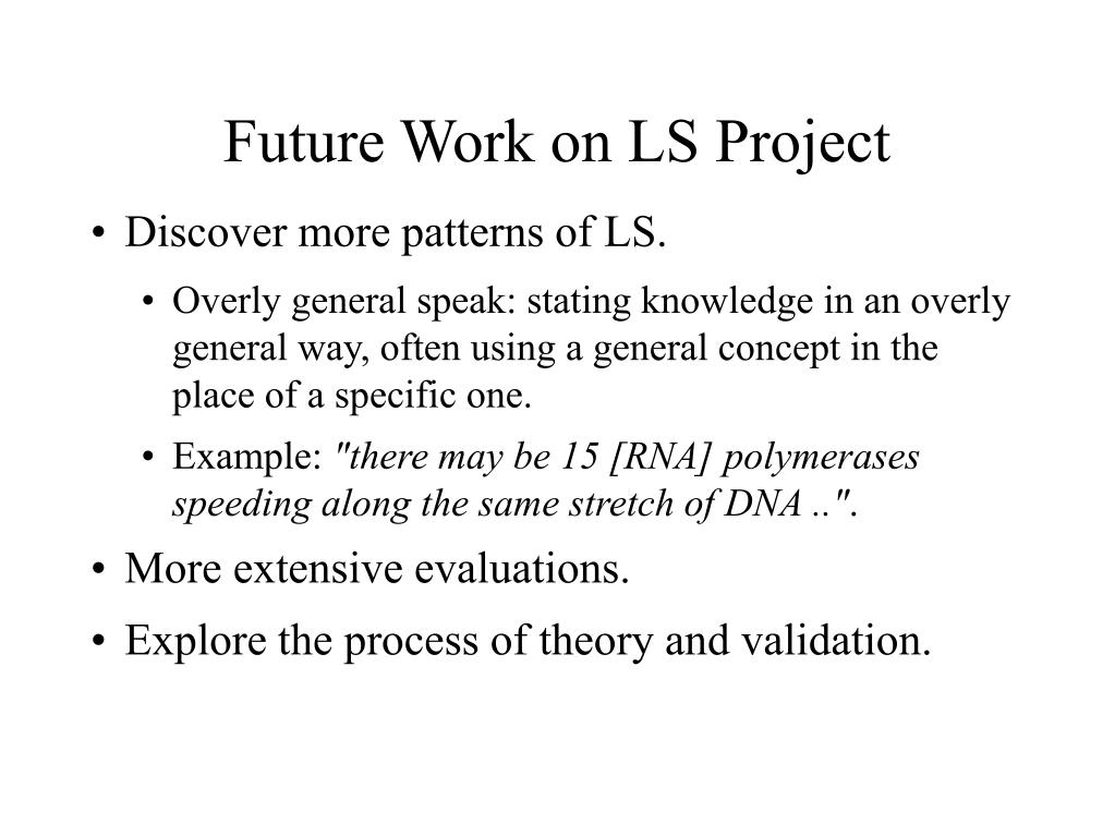 Future Work on LS Project
