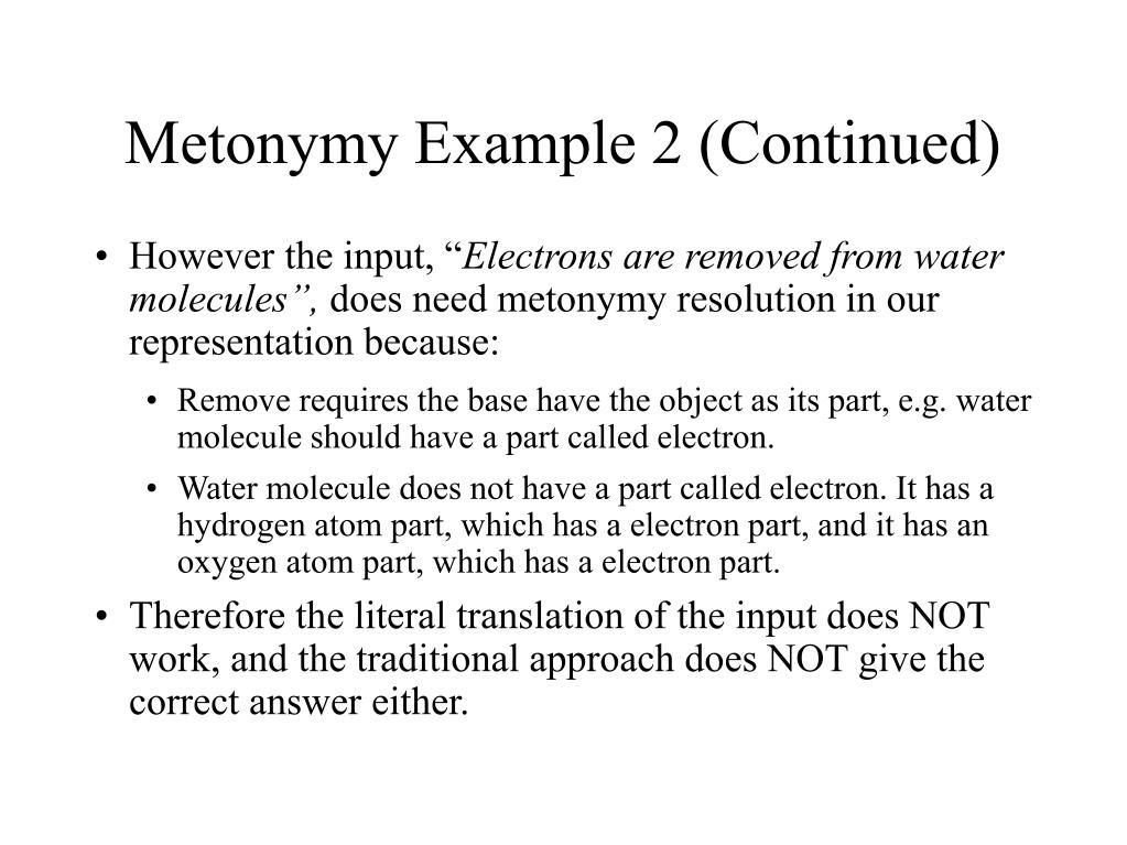 Metonymy Example 2 (Continued)