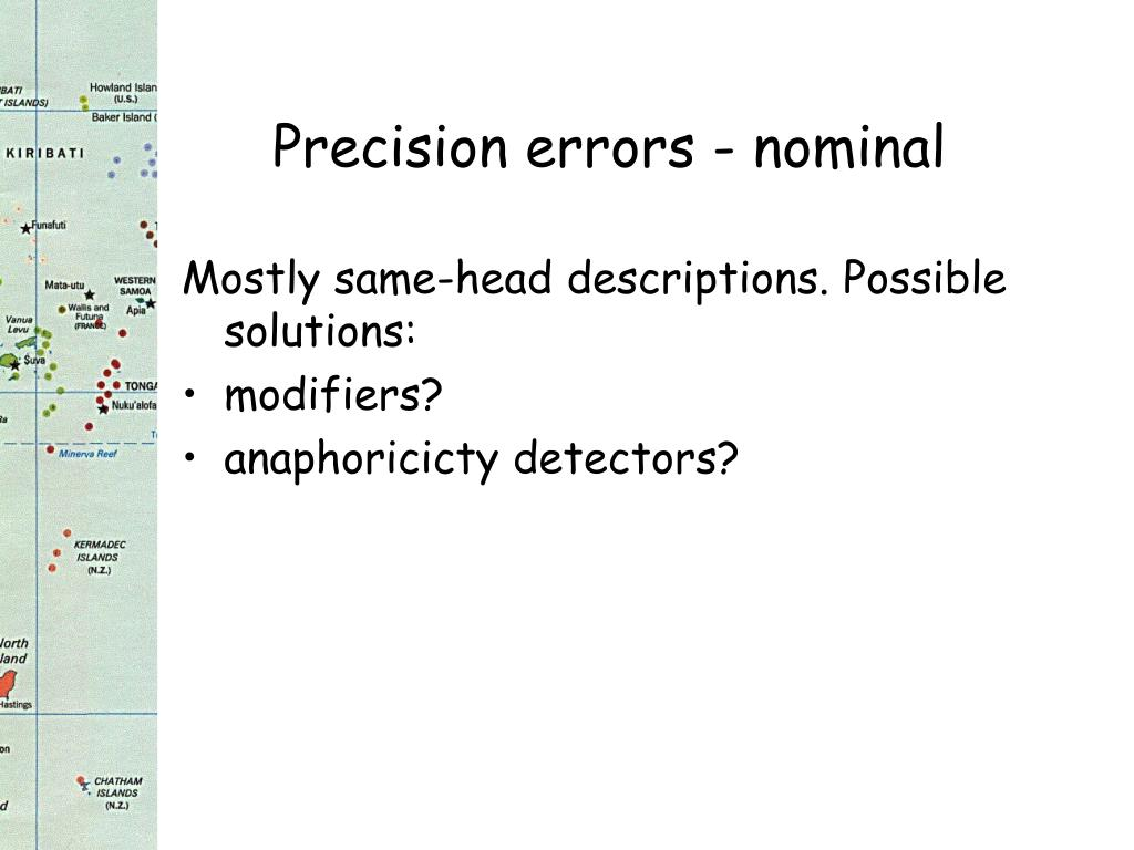 Precision errors - nominal