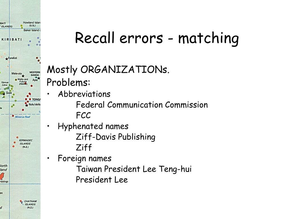 Recall errors - matching