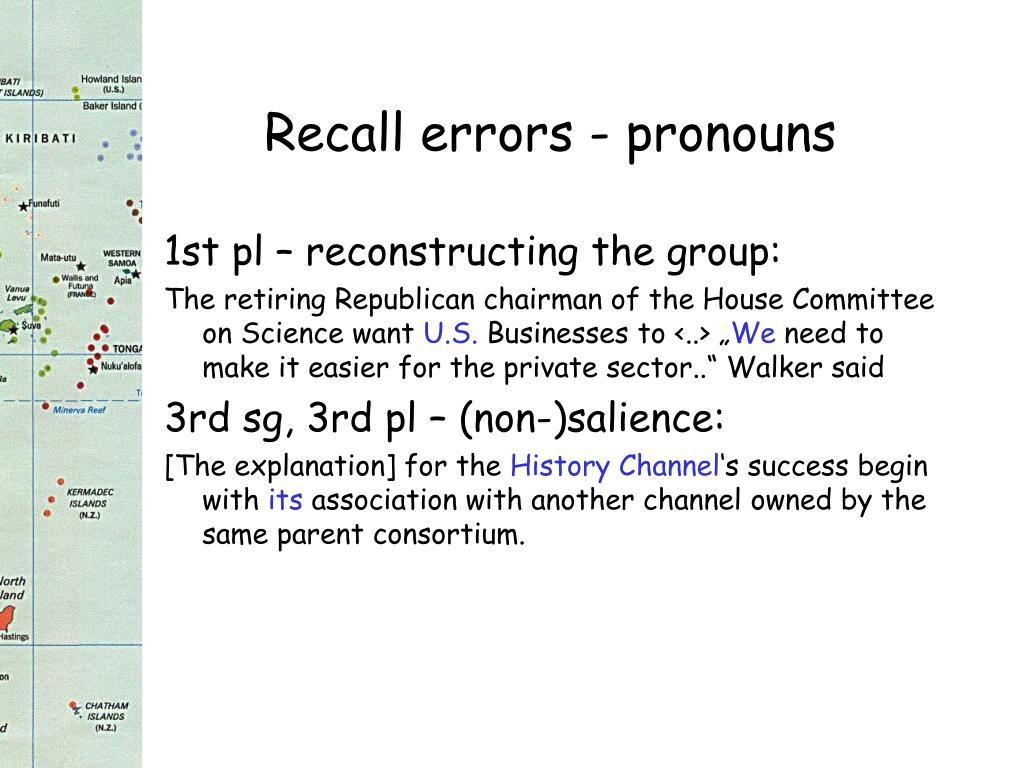 Recall errors - pronouns