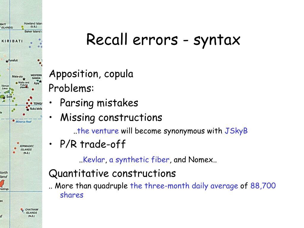 Recall errors - syntax