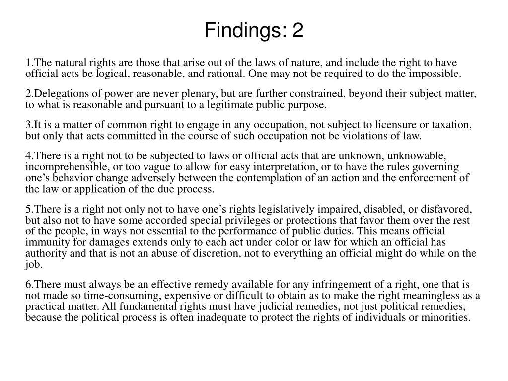 Findings: 2