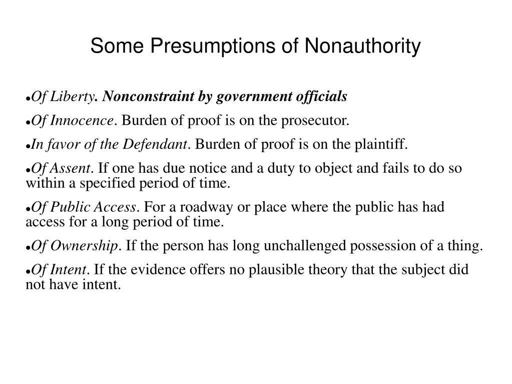 Some Presumptions of Nonauthority