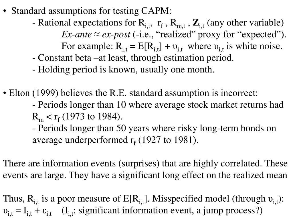 Standard assumptions for testing CAPM:
