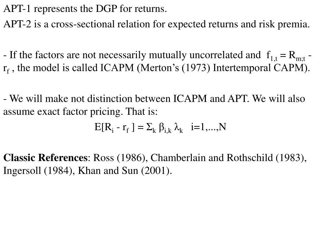 APT-1 represents the DGP for returns.