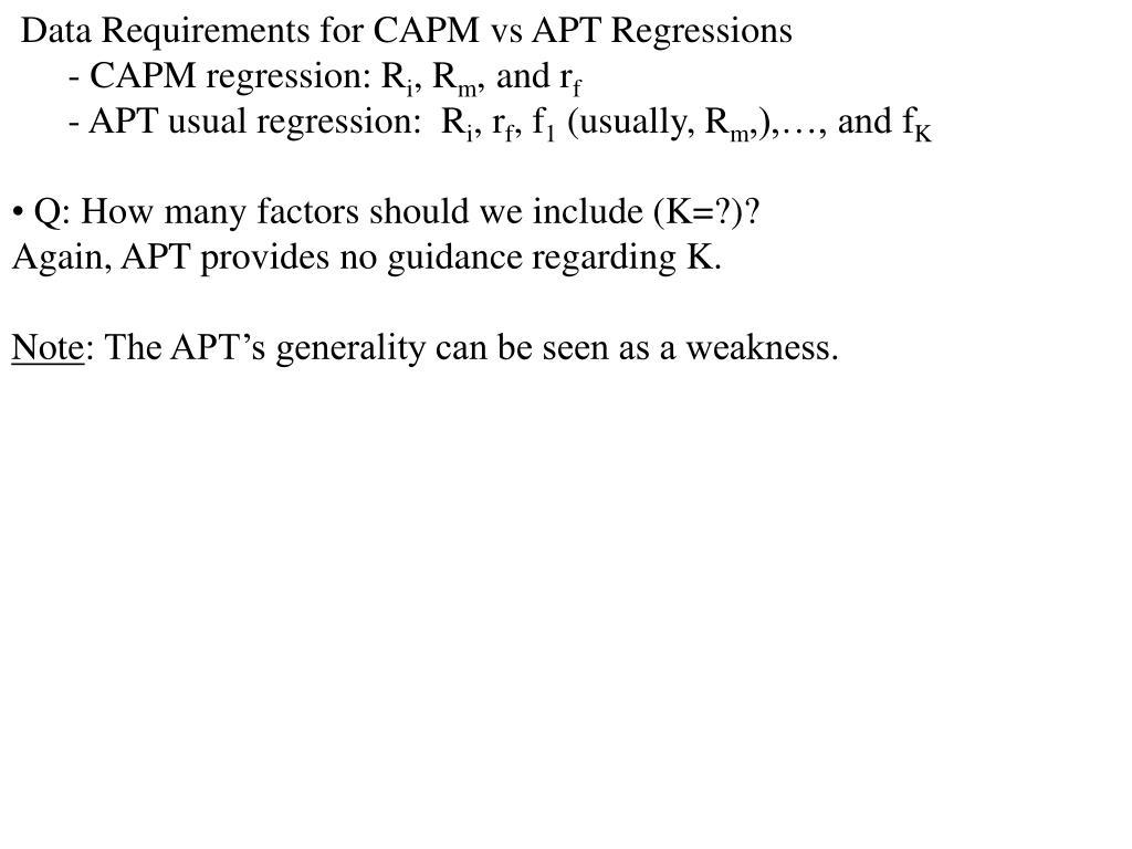 Data Requirements for CAPM vs APT Regressions