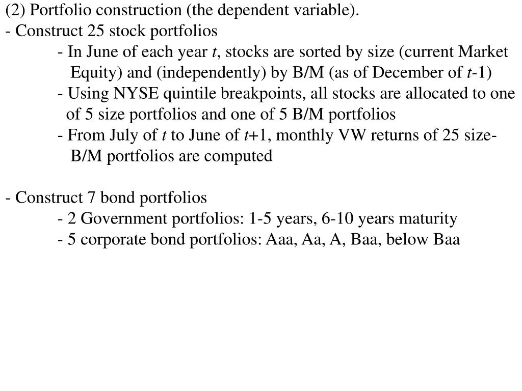 (2) Portfolio construction (the dependent variable).