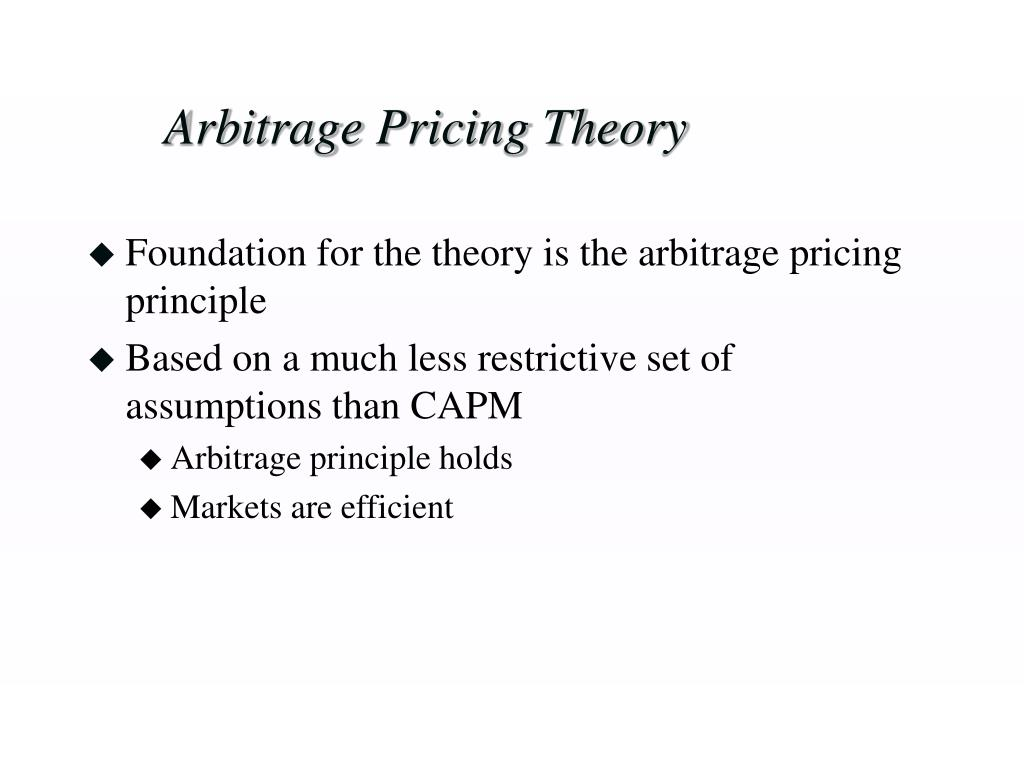 arbitrage pricing theory research papers Arbitrage pricing theory is an asset pricing model based on the idea that an asset's returns can be predicted covered interest arbitrage is a strategy where an.