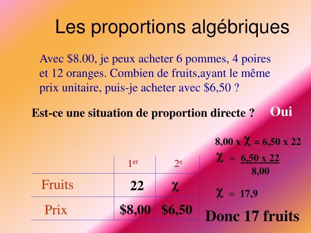 Les proportions algébriques
