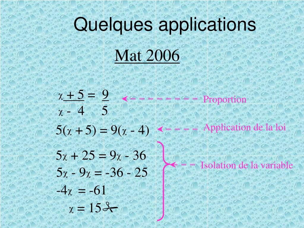 Quelques applications